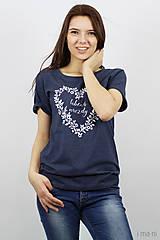 Tričká - Dámske tričko modrý melír ĽÚBENÁ NAVŽDY - 8023252_