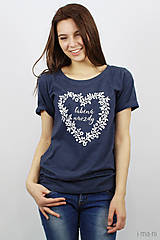 Tričká - Dámske tričko modrý melír ĽÚBENÁ NAVŽDY - 8023253_