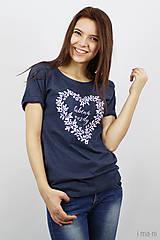 Tričká - Dámske tričko modrý melír ĽÚBENÁ NAVŽDY - 8023254_