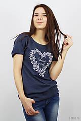 Tričká - Dámske tričko modrý melír ĽÚBENÁ NAVŽDY - 8023255_
