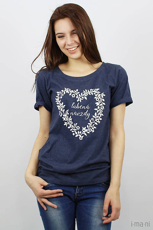Tričká - Dámske tričko modrý melír ĽÚBENÁ NAVŽDY (XL) - 8023253_