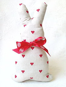 Dekorácie - Bunny in love (beige/red hearts) - 8026433_