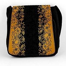 Iné tašky - Taška na plece žltooranžový ornament na čiernom - 8028104_