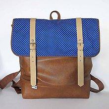 Batohy - Aktovkový batoh (hnedomodrý-bodkovaný) - 8024039_