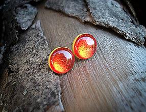 Náušnice - Krúžky 9 mm s kovovým efektom (červené) - 8027081_