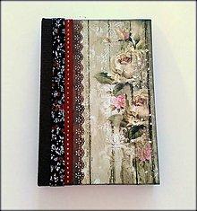Papiernictvo - Ručne šitý zápisník/denník/diár/notes/sketchbook ,,Rose garden