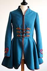 Kabáty - folk kabát s ornamentami - petrolejový - 8025849_
