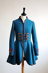 Kabáty - folk kabát s ornamentami - petrolejový - 8025850_