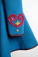 Kabáty - folk kabát s ornamentami - petrolejový - 8025851_