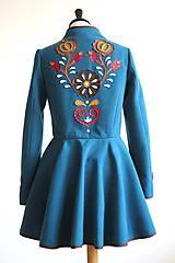 Kabáty - folk kabát s ornamentami - petrolejový - 8025853_