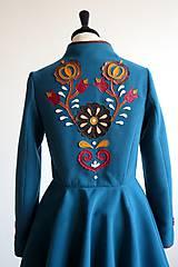 Kabáty - folk kabát s ornamentami - petrolejový - 8025854_
