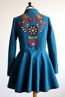 Kabáty - folk kabát s ornamentami - petrolejový - 8025852_
