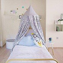 Textil - Sivý baldachýn s obláčikmi - 8025230_