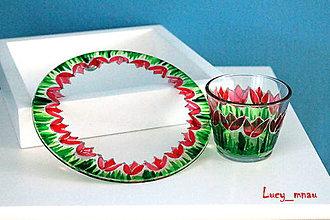 Svietidlá a sviečky - Svietnik a podnos okrúhly: bordové tulipány :) - 8027495_