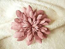Odznaky/Brošne - Brošňa kožená, astra ružová - 8024450_