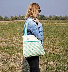 Veľké tašky - Prúžkovaná zelená kabelka - 8029693_