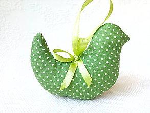 Dekorácie - Birdie (green/mini white dots) - 8029559_