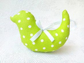 Dekorácie - Birdie (apple green/white dots) - 8029584_