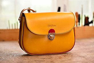 Kabelky - kabelka kožená  PASPULA žltá/magenta - 8028361_
