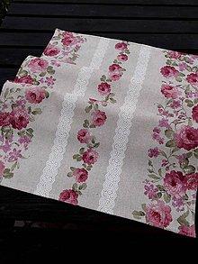 Úžitkový textil - STŘEDOVÝ BĚHOUN .. růžové květy - 8028862_