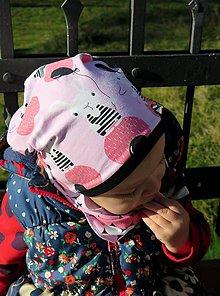 Detské čiapky - čiapka z biobavlny Zajkovia (ružová) - 8028825_