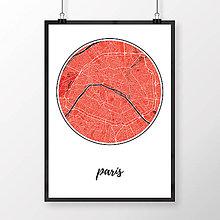Obrazy - PARÍŽ, okrúhly, červený - 8031420_