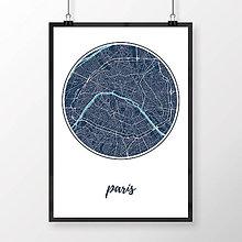 Obrazy - PARÍŽ, okrúhly, tmavomodrý - 8031449_