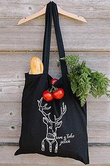 Nákupné tašky - som z toho jeleň - nákupná taška čierna - 8029183_