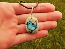 Náhrdelníky - Modrý vtáčik na vetvičke - 8029650_