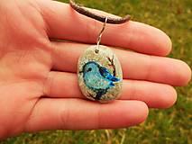 Náhrdelníky - Modrý vtáčik na vetvičke - 8029654_