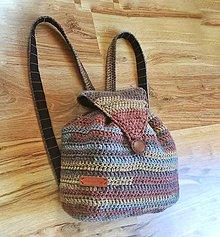 Batohy - Háčkovaný ruksak hnedý strakatý - 8031196_