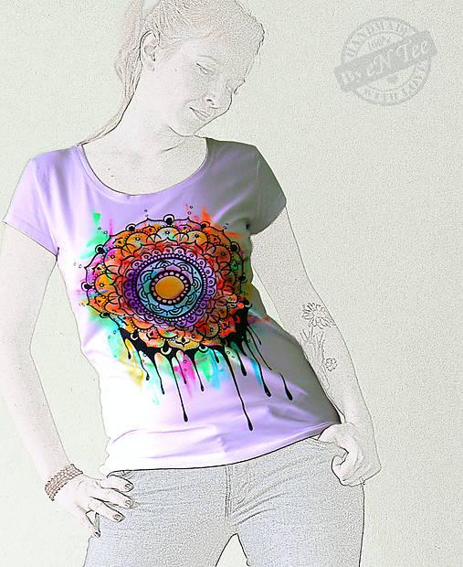Mandala -maľované dámske tričko   entee - SAShE.sk - Handmade Tričká f602f7dd956