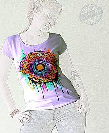 Tričká - Mandala -maľované dámske tričko - 8032056_