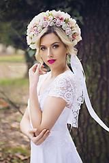 Šaty - Svadobné šaty s korálkovou krajkou a sukňou v Á-čkovom strihu - 8030603_