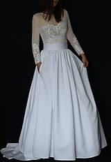 Šaty - Svadobné šaty s dlhými rukávmi a veľkou sukňou - 8030759_