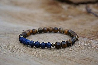 Náramky - Náramok Tigrie oko&Lapis Lazuli - 8029411_