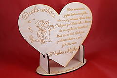 Darčeky pre svadobčanov - Drevene srdiečko ako poďakovanie rodičom 31 - 8030438_