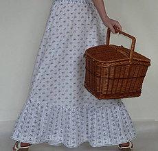 Sukne - Sukňa Modrotlač s volánom - 8034672_