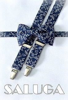 Doplnky - Tmavý modrý pánsky motýlik + traky - vzorovaný - modrotlač - 8034451_