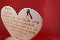 Darčeky pre svadobčanov - Drevene srdiečko ako poďakovanie rodičom 35 - 8032553_