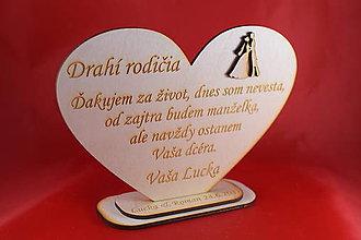 Darčeky pre svadobčanov - Drevene srdiečko ako poďakovanie rodičom 36 - 8032558_