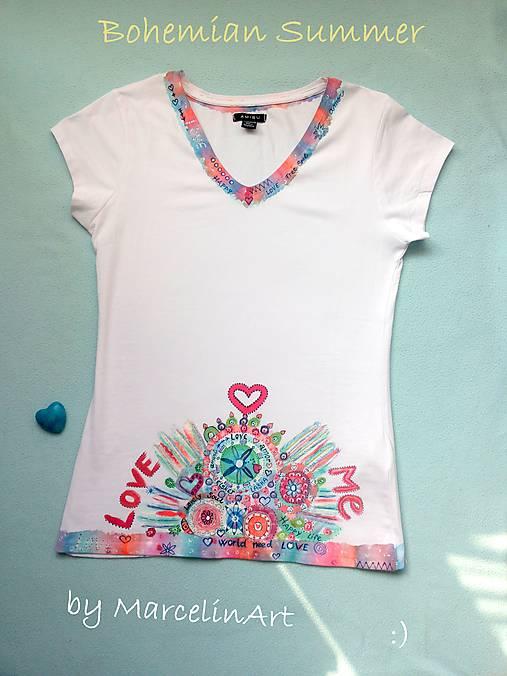 7cdbfce9b6f2 AKCIA ! bohémske tričko  Love me  ručne maľovaný originál č.M