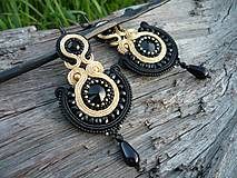 - Soutache náušnice Luxury Black&Gold - 8038684_