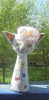 Socha - Mačka a baretka -- keramika - 8036004_