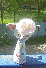 Socha - Mačka a baretka -- keramika - 8036008_