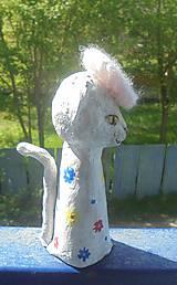 Socha - Mačka a baretka -- keramika - 8036013_