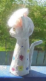 Socha - Mačka a baretka -- keramika - 8036025_