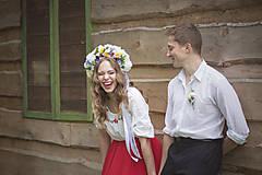 Ozdoby do vlasov - Ľudová kvetinová parta - 8039036_