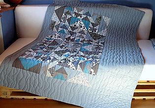Úžitkový textil - Patchworková deka modrá - 8037172_