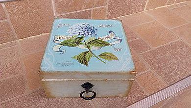 """Krabičky - Vintage šperkovnica """"Modrá hortenzia"""" - 8038574_"""